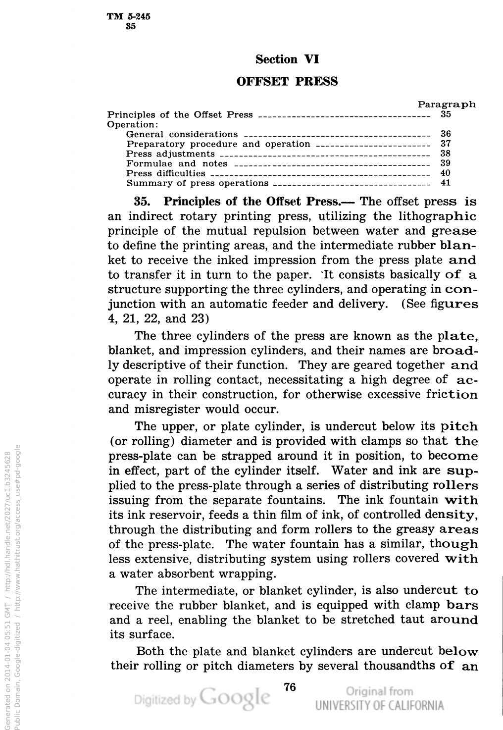 TM 5-245 35 Section VI OFFSET PRESS Paragraph Principles of the Offset Press 35 Operation: General