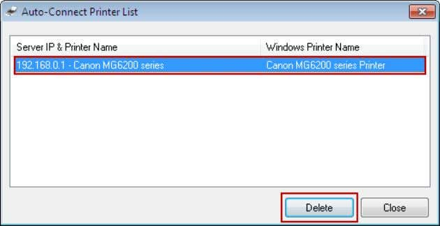 1. Go to Tools->Auto-Connect Printer List . 2. Highlight your auto-connect printer and then click Delete