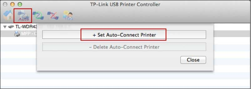 Click the tab Auto-Connect for printing to pull down a list, where you can select Set