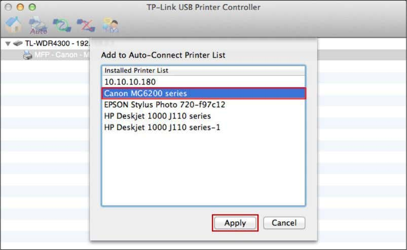 as auto-connect printer, and then click the Apply button. After successful setting, you will see the
