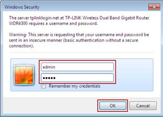 (in lower case letters) for both the User Name and Password. Then click the OK button