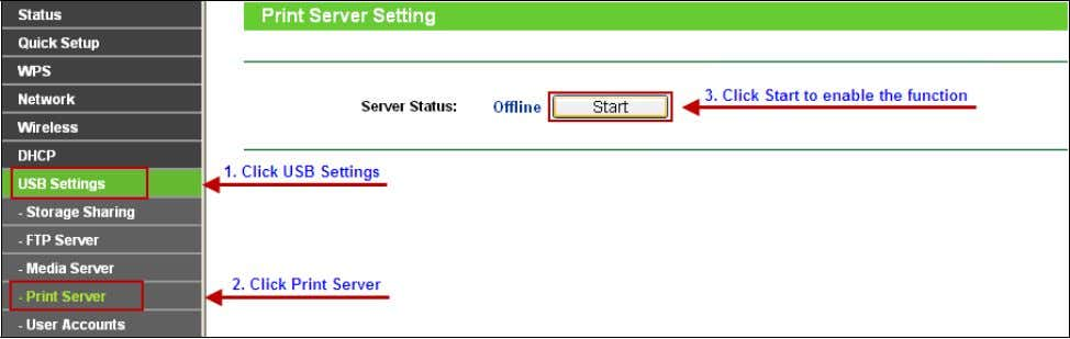 USB Settings -> Print Server . Clicking Stop will disable the func tion and clicking Start