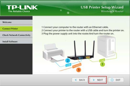 USB Printer Setup . 4. Connect your computer and printer to the Router step by step