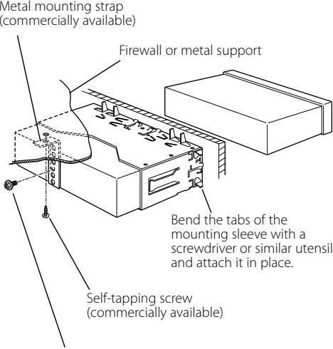 Metal mounting strap (commercially available) Firewall or metal support Bend the tabs of the mounting