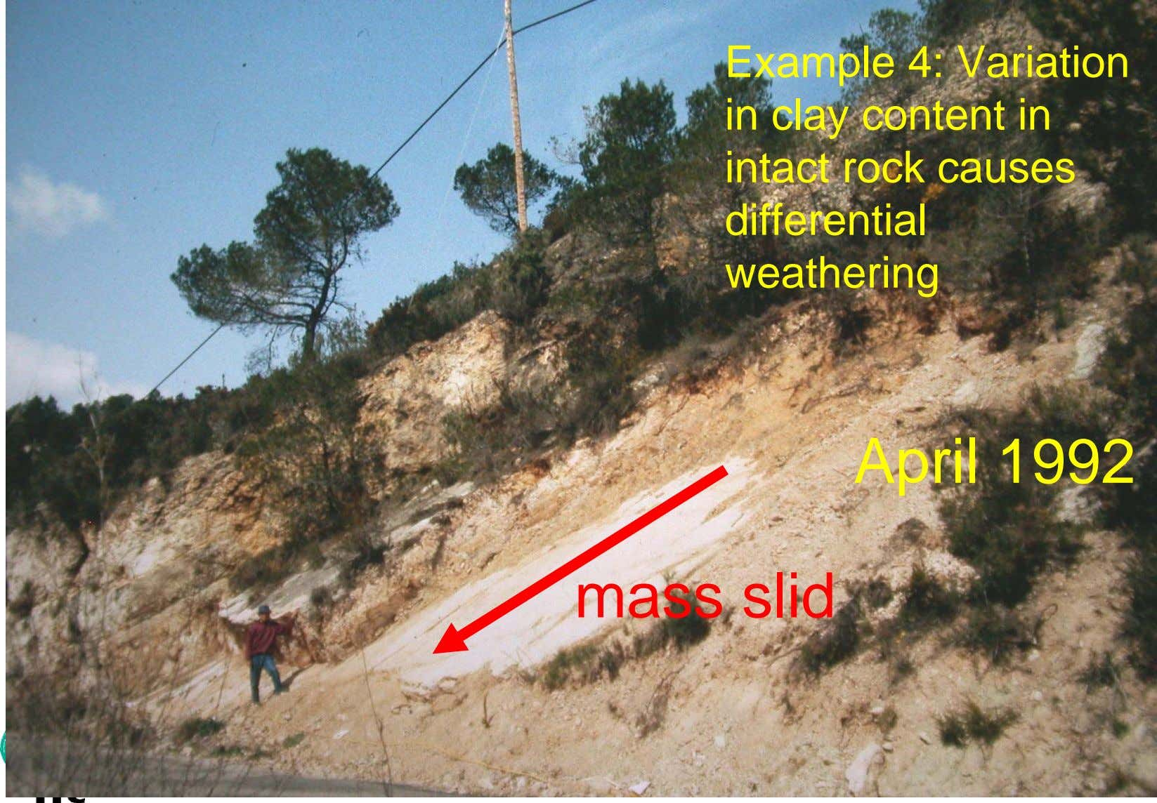 Example 4: Variation in clay content in intact rock causes differential weathering April 1992 mass