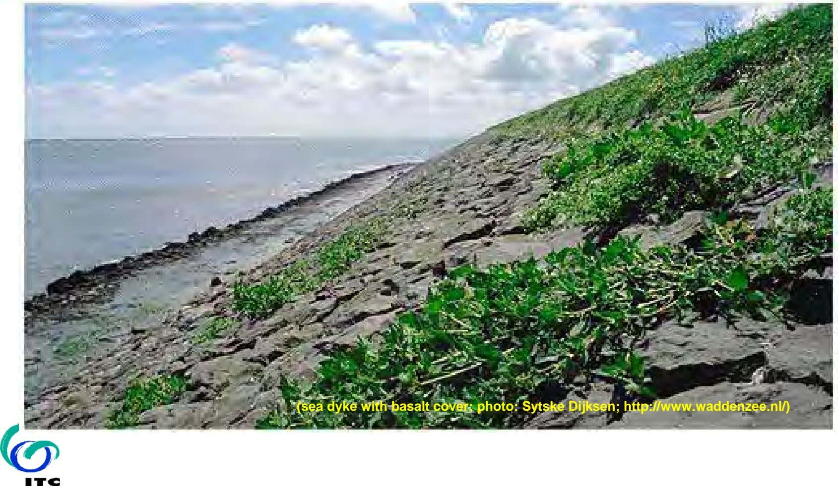 (sea dyke with basalt cover: photo: Sytske Dijksen; http://www.waddenzee.nl/)