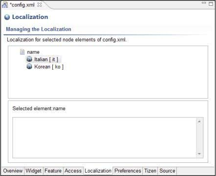 to return to the Localization window, shown in Figure 4-6. Figure 4-6: Localizing the application name.