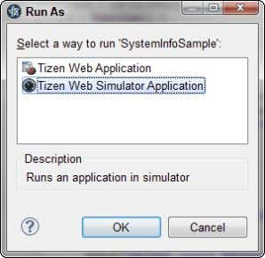 of the IDE window and choose Simulator from the Run As dialog box, shown in Figure