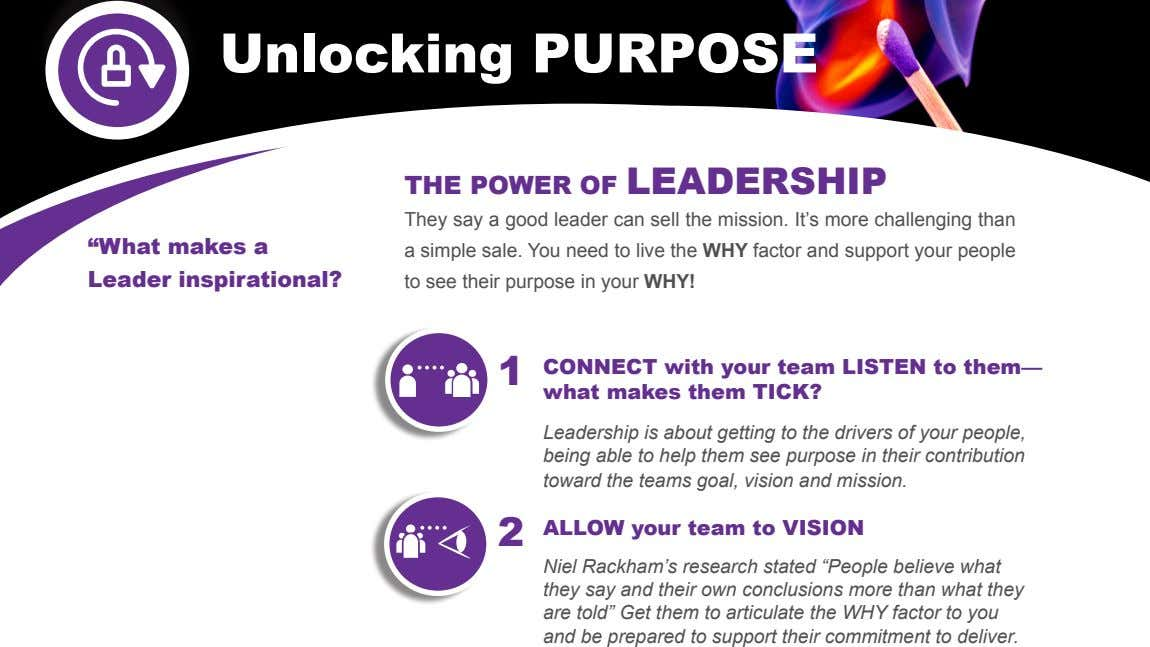 1 CONNECT with your team LISTEN to them— what makes them TICK? Leadership is about
