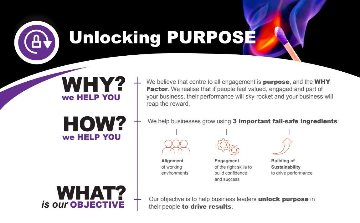 Unlocking PURPOSE WHY ? we HELP YOU We believe that centre to all engagement is