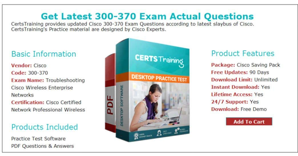 Cisco Wireless Enterprise Networks cer fica on exams. Compared to engines of the review and our