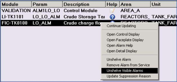 visibility to out-of-service and logic-suppressed alarms. Context menus reflect user permissions. In this example the