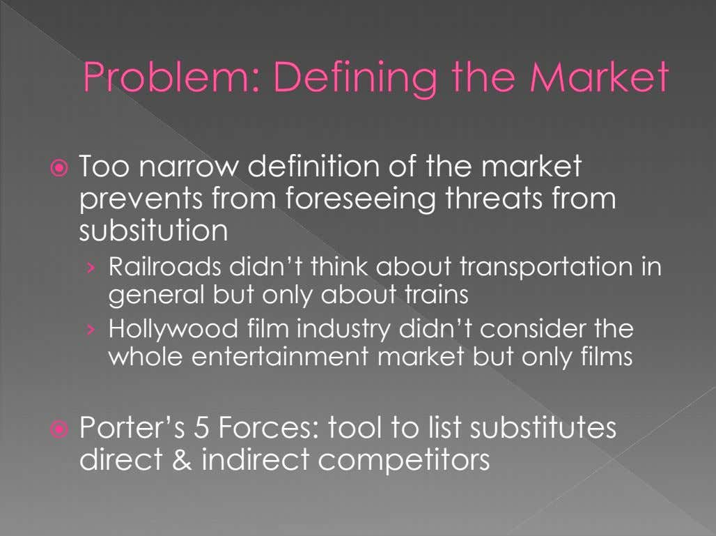  Too narrow definition of the market prevents from foreseeing threats from subsitution › Railroads
