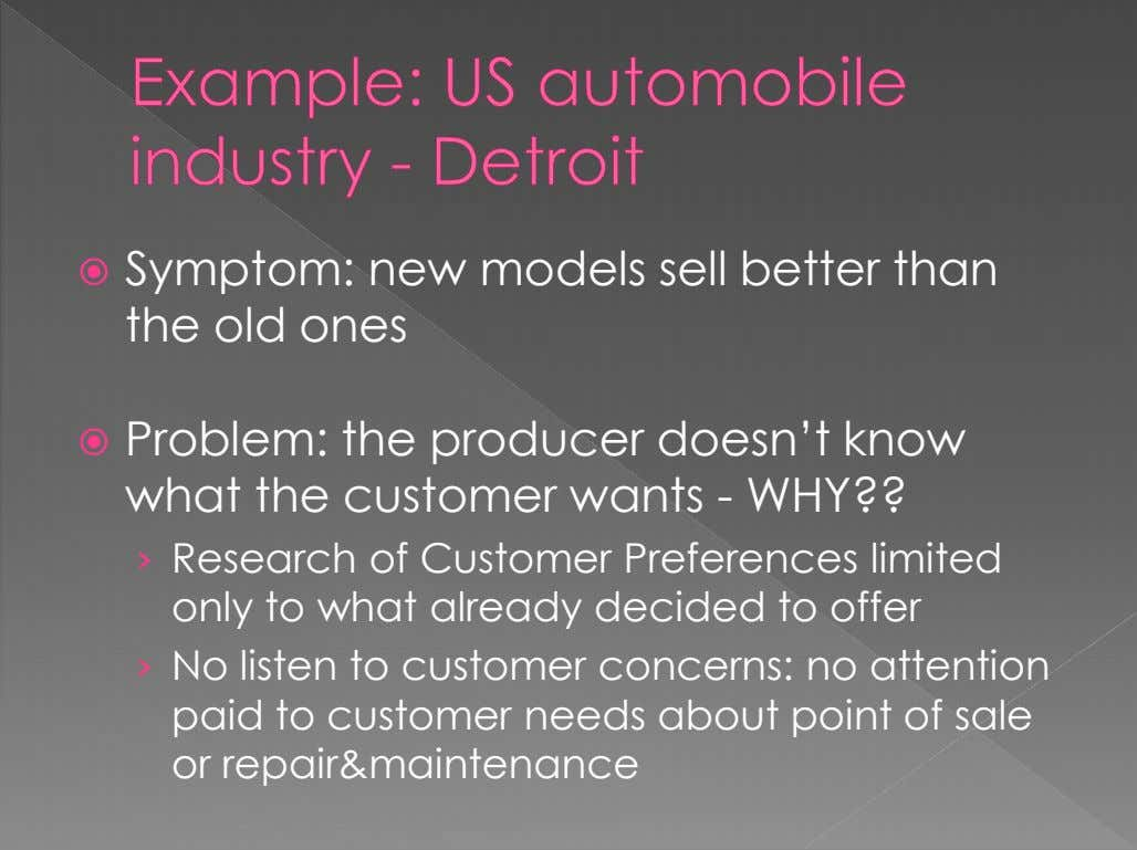 Symptom: new models sell better than the old ones  Problem: the producer doesn't