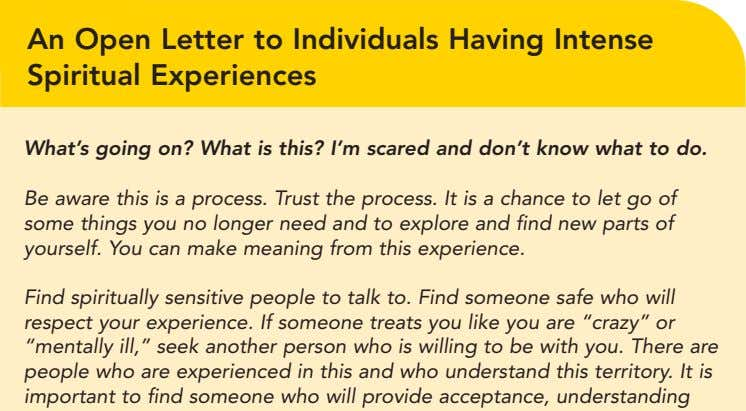 An Open Letter to Individuals Having Intense Spiritual Experiences