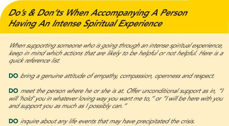 Do's & Don'ts When Accompanying A Person Having An Intense Spiritual Experience