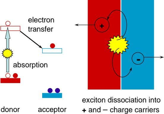 electron + transfer - absorption donor acceptor exciton dissociation into + and – charge carriers