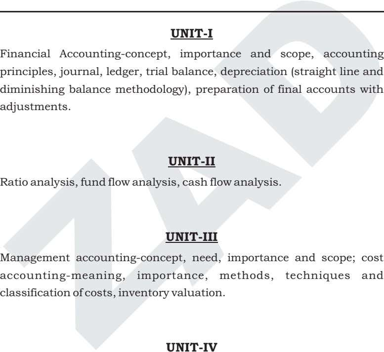 UNIT-I Financial Accounting-concept, importance and scope, accounting principles, journal, ledger, trial balance,