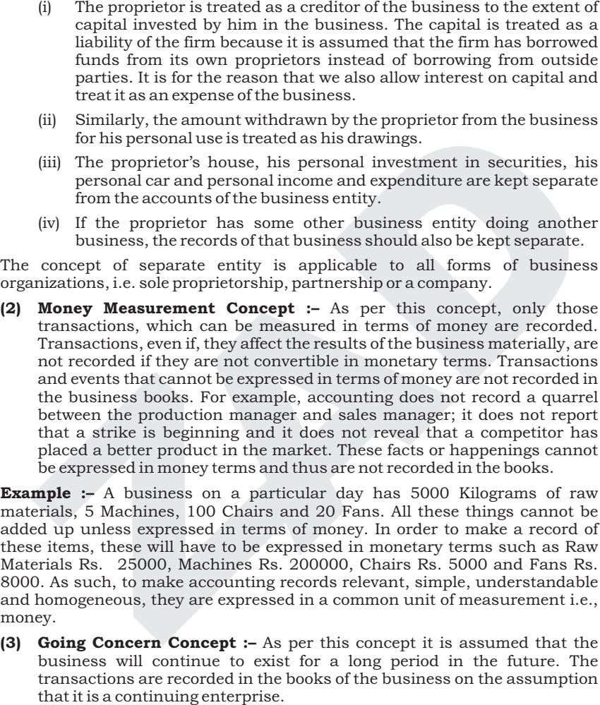 (i) The proprietor is treated as a creditor of the business to the extent of