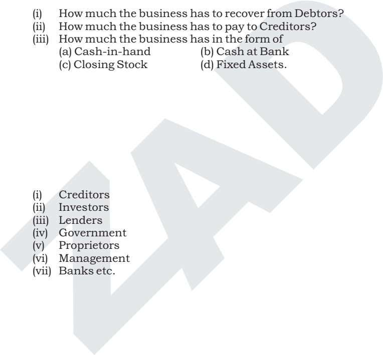 (i) How much the business has to recover from Debtors? (ii) How much the business