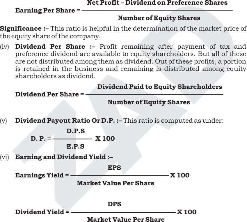 Net Profit – Dividend on Preference Shares Earning Per Share =
