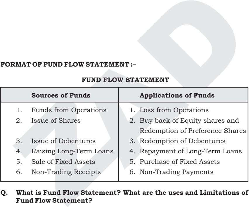FORMAT OF FUND FLOW STATEMENT :– FUND FLOW STATEMENT Sources of Funds Applications of Funds