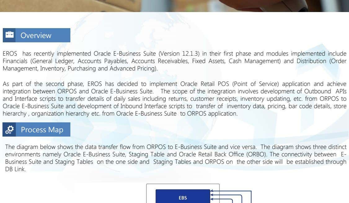 Overview EROS has recently implemented Oracle E-Business Suite (Version 12.1.3) in their first phase and
