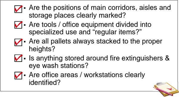  Are the positions of main corridors, aisles and storage places clearly marked?  Are