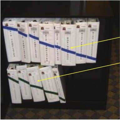 Example : 3 - ring Binder shelf Organization Draw or tape line through Binders. Easy to