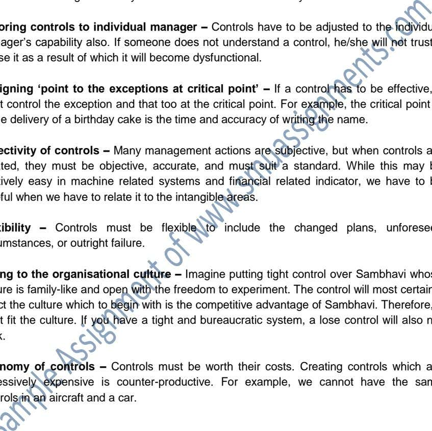 though both maybe based on a financial control system. Tailoring controls to individual manager – Controls