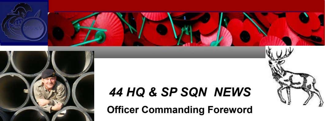 44 HQ & SP SQN NEWS Officer Commanding Foreword