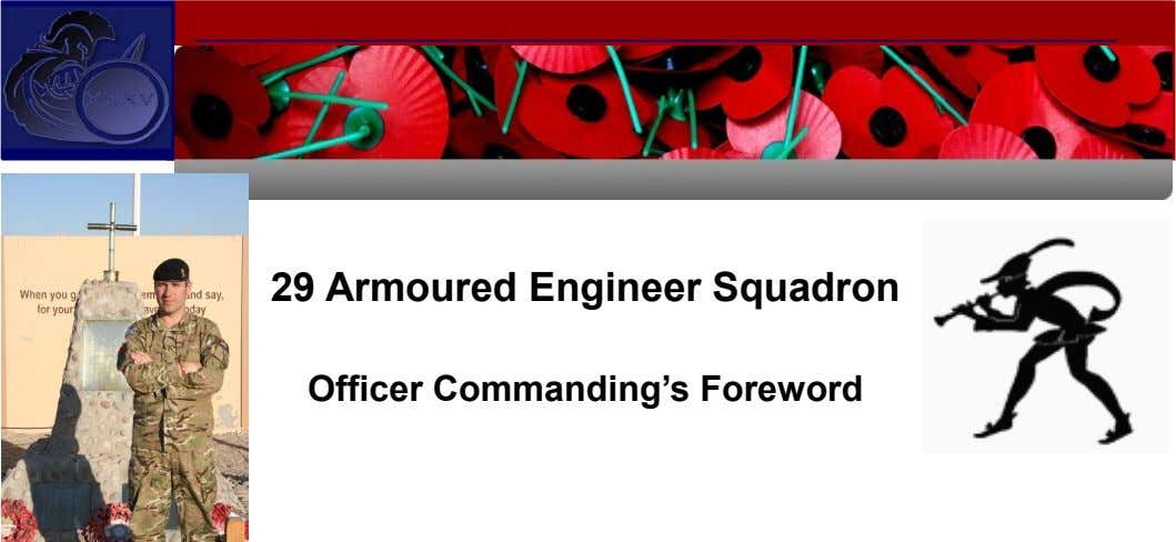 29 Armoured Engineer Squadron Officer Commanding's Foreword