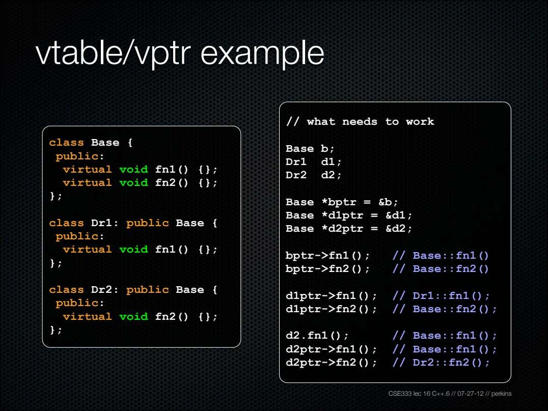 vtable/vptr example // what needs to work class Base { public: Base b; Dr1 d1;