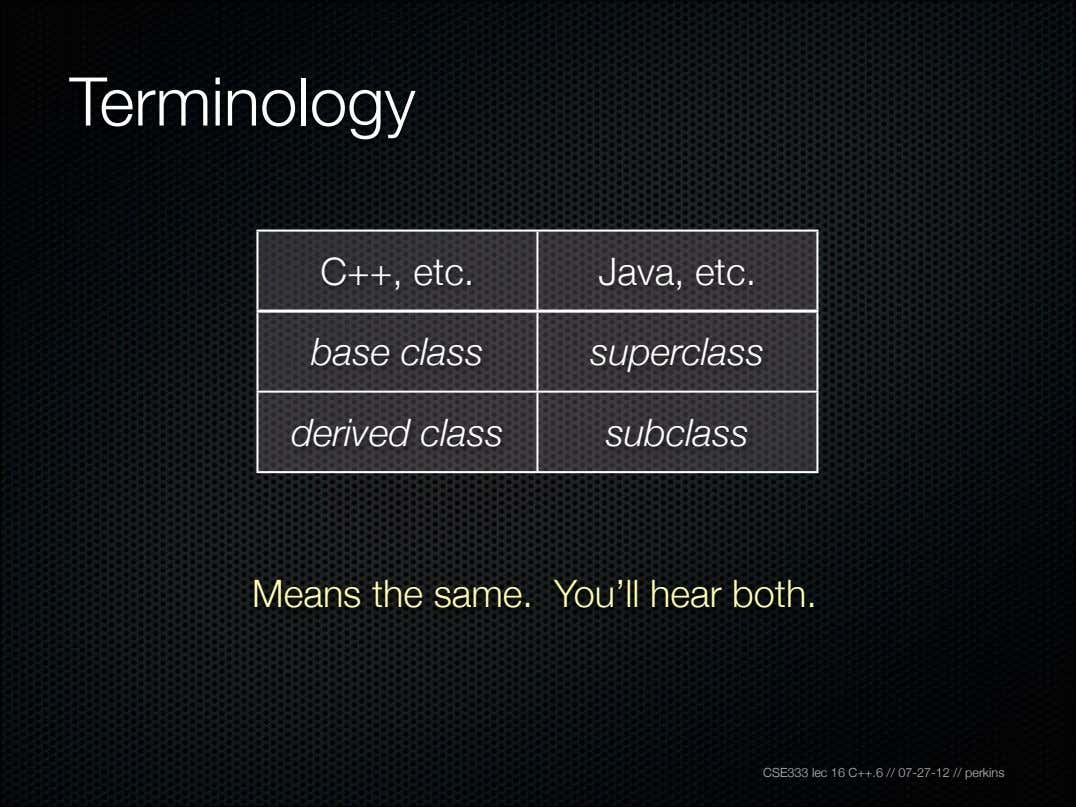 Terminology C++, etc. Java, etc. base class superclass derived class subclass Means the same. You'll