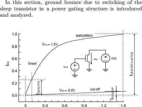 In this section, ground bounce due to switching of the sleep transistor in a power