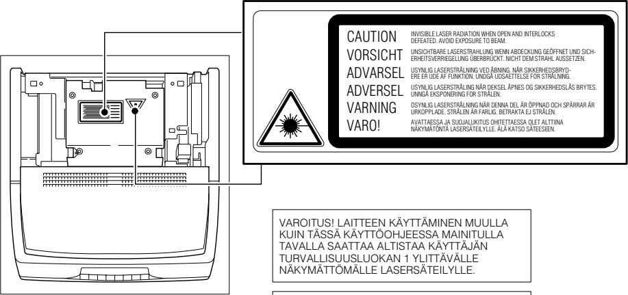CAUTION INVISIBLE LASER RADIATION WHEN OPEN AND INTERLOCKS DEFEATED. AVOID EXPOSURE TO BEAM. VORSICHT UNSICHTBARE