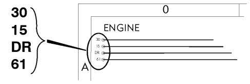 Example of wiring diagram T3016003 T3016004 T3016037 Component wiring diagram title, variant/subtitle and symbol.