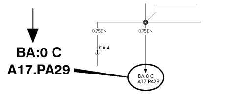 T3016007 T3016008 Reference arrow, for diagram BA, coordinates 0 C, compo- nent A17, connector PA