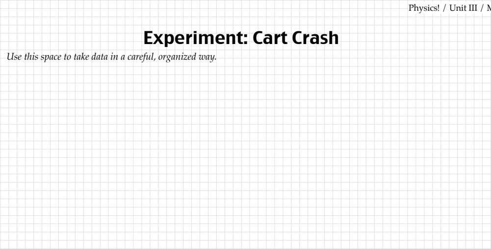 a careful, organized way. Cart Crash Physics! / Unit III / MTM from Modeling Workshop Project