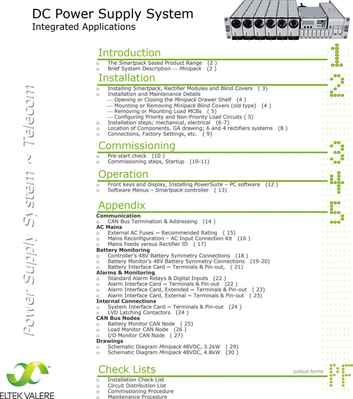DC Power Supply System Integrated Applications Introduction o The Smartpack based Product Range (2 )