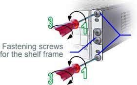 Fastening screws for the shelf frame