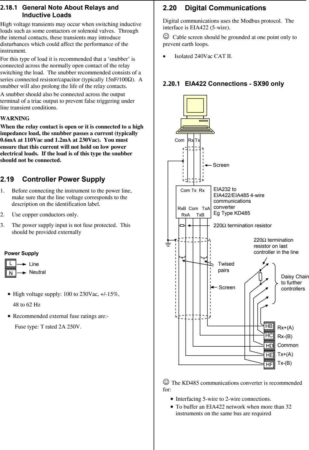 2.18.1 General Note About Relays and Inductive Loads 2.20 Digital Communications High voltage transients may