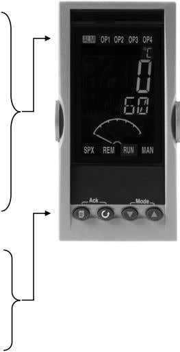 If mode 1 above is selected, then from the HOME display:- Measured Temperature or Pressure (Process