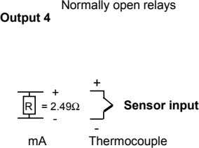 Normally open relays Output 4 + + R = 2.49Ω Sensor input - - mA
