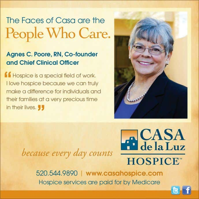 The Faces of Casa are the Agnes C. Poore, RN, Co-founder and Chief Clinical Officer