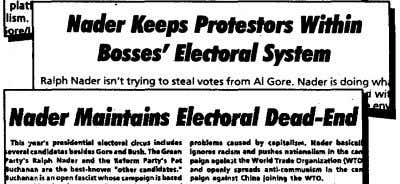 N.de, Keeps Protestors Within losses' I/edonll System to steal votes from AI Gore. Nader is