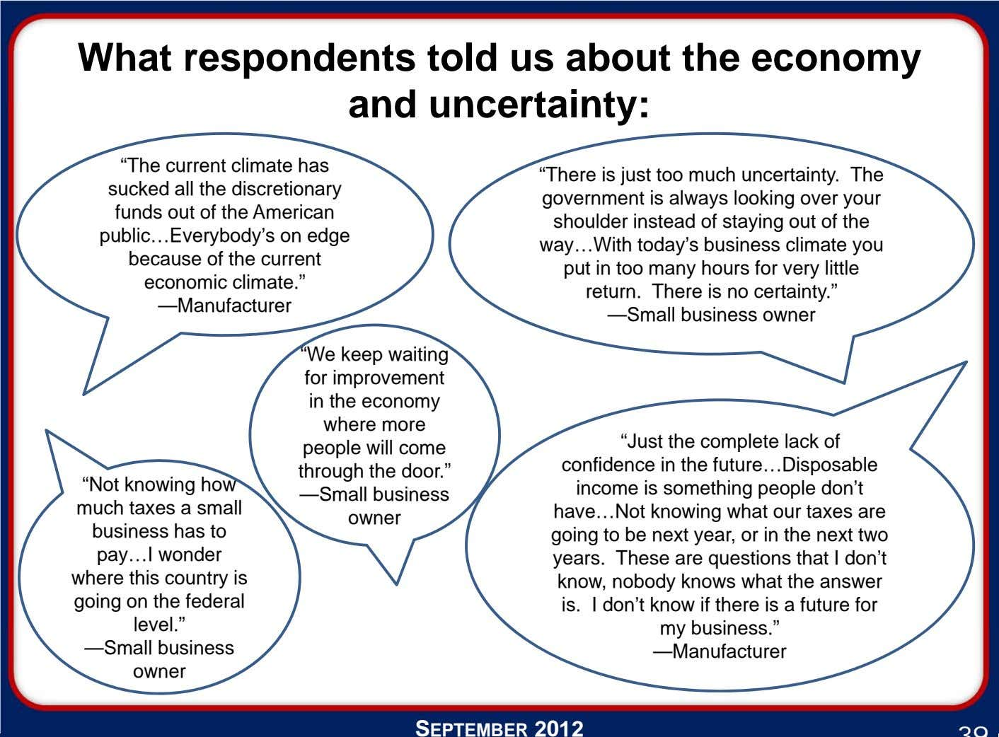 "What respondents told us about the economy and uncertainty: ""The current climate has sucked all"