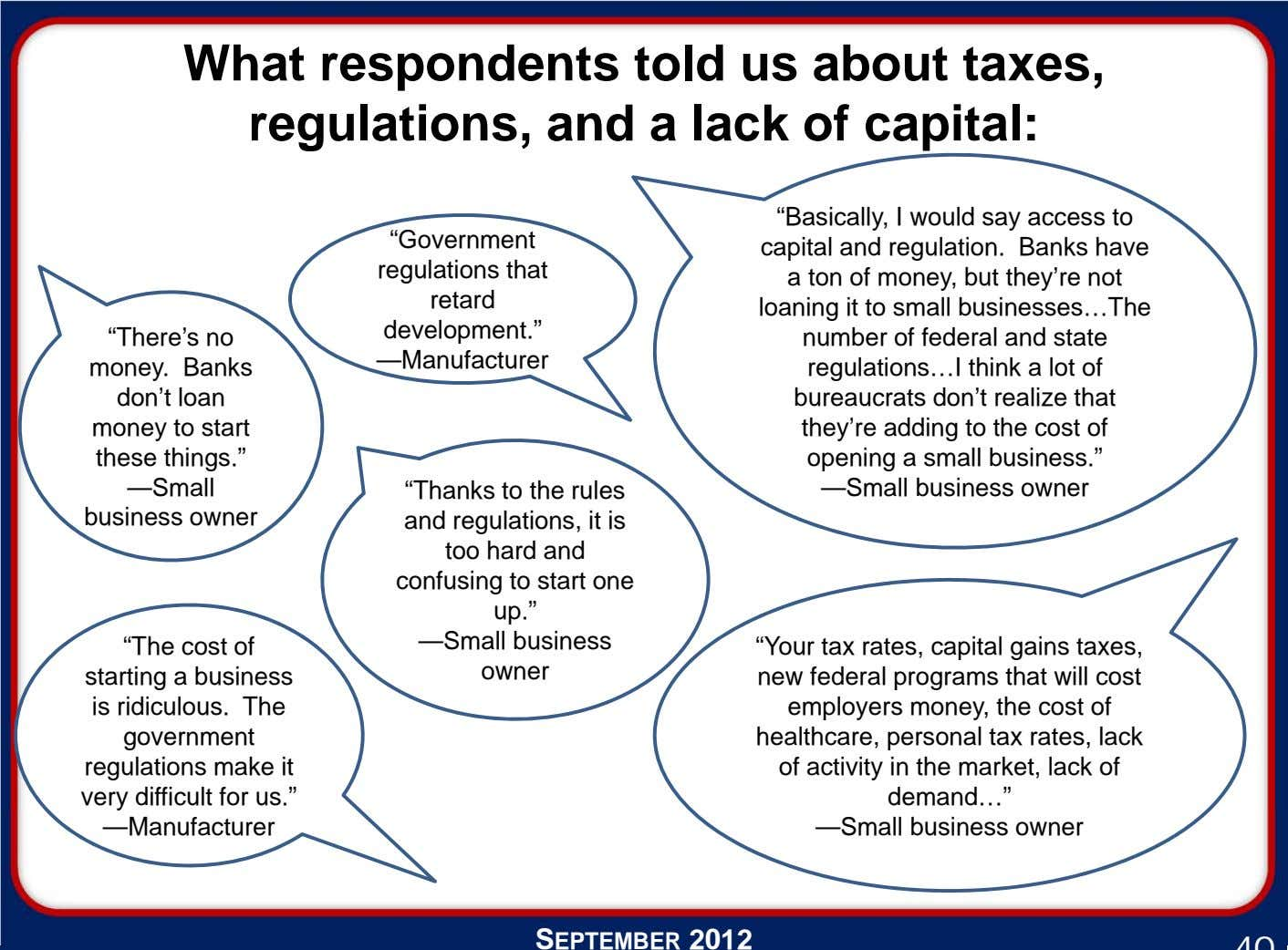 "What respondents told us about taxes, regulations, and a lack of capital: ""There's no money."