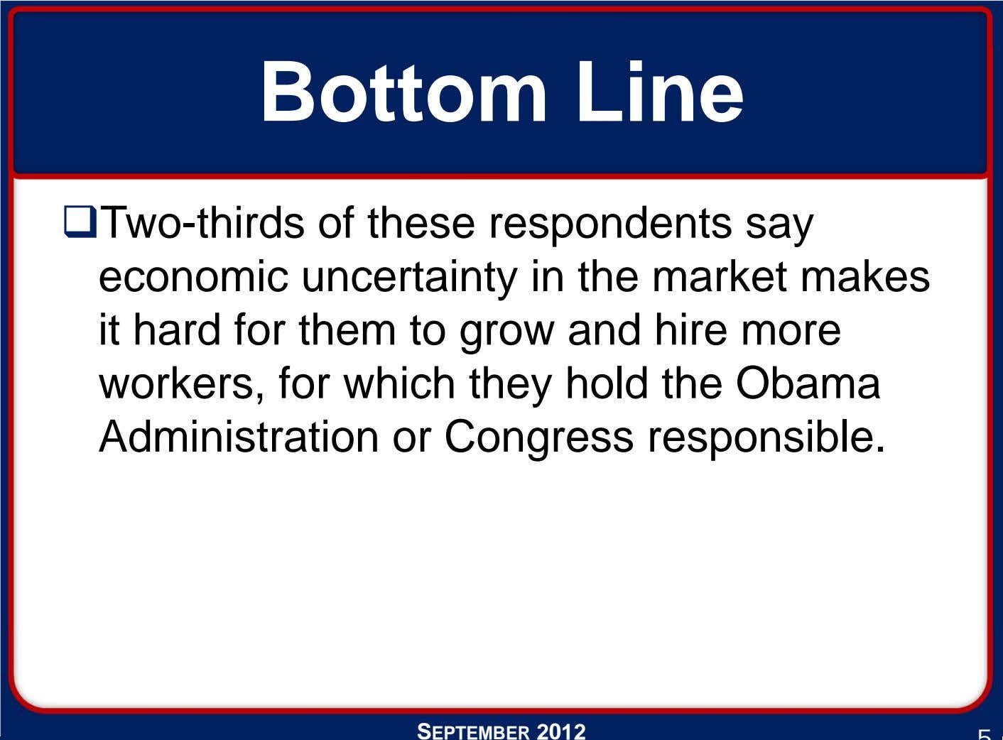 Bottom Line Two-thirds of these respondents say economic uncertainty in the market makes it hard