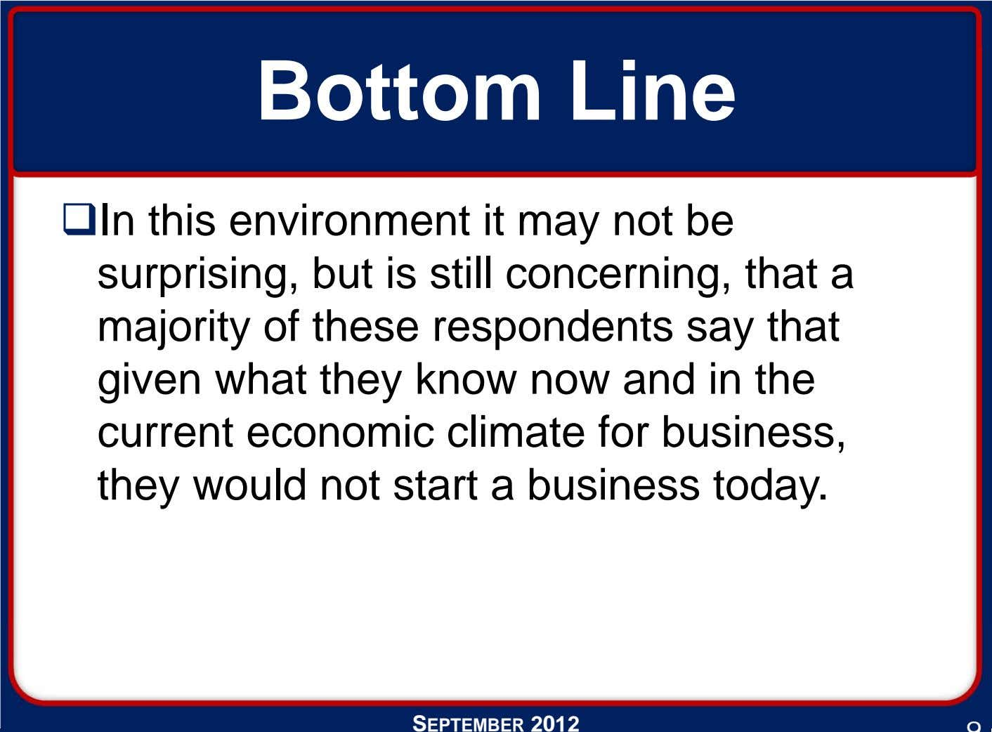 Bottom Line In this environment it may not be surprising, but is still concerning, that